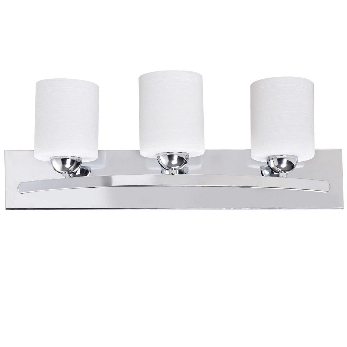 Tangkula bathroom vanity lamp brushed chrome lighting fixture with white lined glass shade wall sconce light lighting chrome 3 amazon com