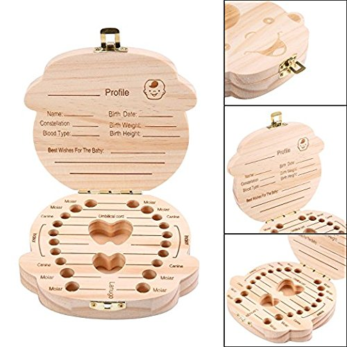 Yonger Baby Tooth Box, Wooden Baby Teeth Keepsake Boxes Teeth Save Box Souvenir Box, Milk Teeth Organizer Holder Teeth Wood Case Storage,1pc (English, Girl)
