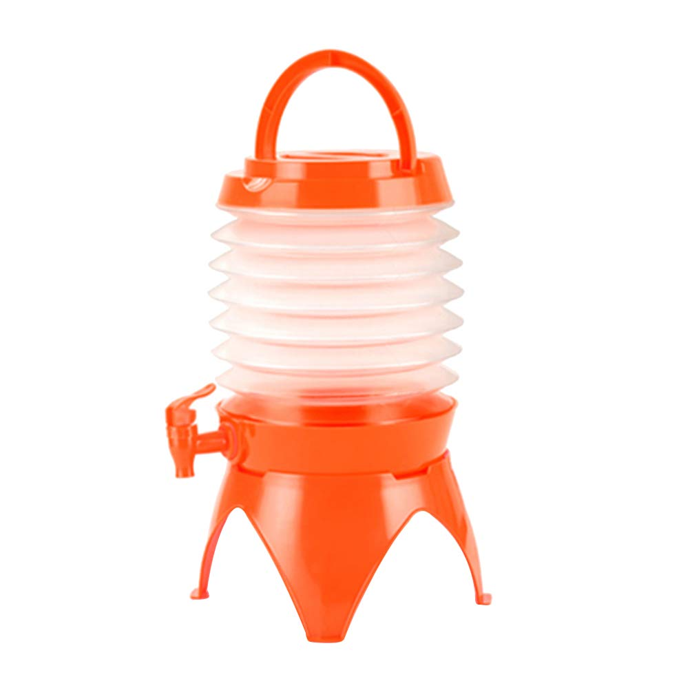 LIOOBO 5.5L Collapsible Water Bottle with Mouth Dispensing Valve Portable Leak Proof Travel Water Bottle for Outdoors Sports Camping (Orange)