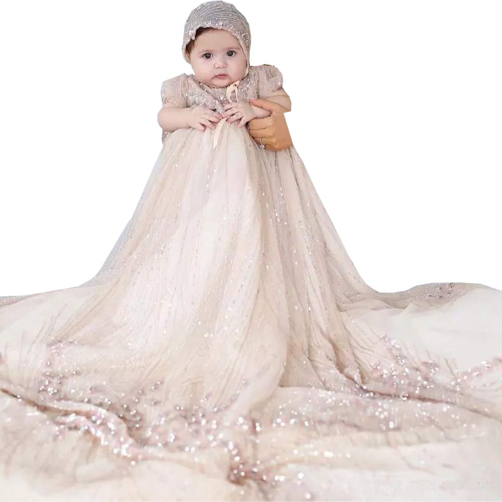 Michealboy Baby Christening Gowns Champagne Infant Full Sequins Outfits Bead Formal with Bonnet