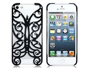 Cut-Out Caja protectora de la mariposa con cristal para iPhone 5 (Negro)