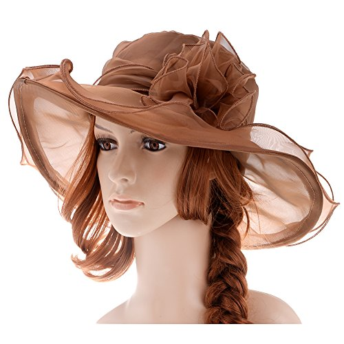 Vbiger Women's Summer Flat Large Wide Brim Gauze Kentucky Derby Sun Hat (Brown)