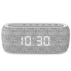 Costrov 10w Bluetooth 4.2 Portable Fabric Speaker 20 Hours Play Time, Hd Sound and Enhanced Bass with Digital Alarm Clock, Date/time Digital Display and Fm Radio, M29,Gray