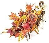 "CC Home Furnishings Fall Harvest Thanksgiving Pumpkin, Gourd & Leaf Cornucopia Centerpiece 31"""