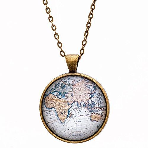 Amazon world map necklace globe atlas handmade world map necklace globe atlas gumiabroncs Image collections