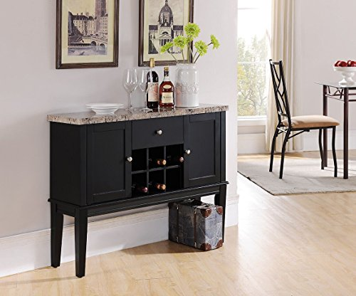 Kings Brand Furniture Black Wood with Marble Finish Breakfront Cabinet Buffet Wine Storage Console Table (Buffet Table With Wine Rack)