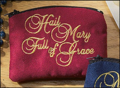 Religious Gifts New Cloth Embroidered Hail Mary Catholic Rosary Case, 4 inch