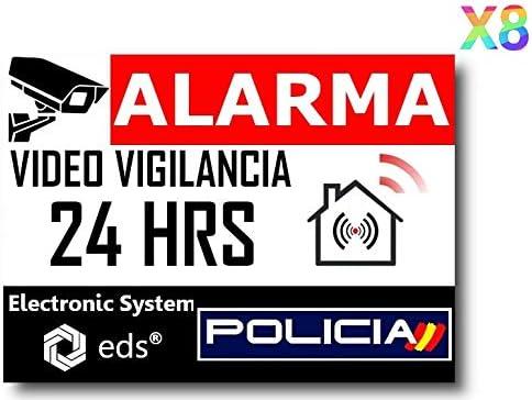 Egero - Pegatinas disuasorias Video Vigilancia Alarma Policia x8 Antirrobo para Casa, Edificio, Comercio, Garaje. Pegatinas de videovigilancia de Calidad Profesional.