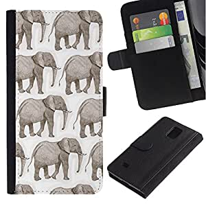 A-type (Elephant White African Indian White) Colorida Impresión Funda Cuero Monedero Caja Bolsa Cubierta Caja Piel Card Slots Para Samsung Galaxy Note 4 IV