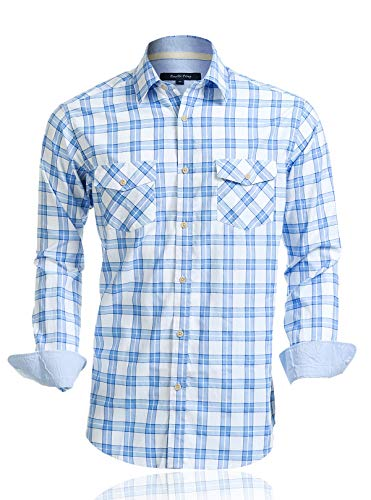 Mens Shirts Long Sleeve Casual with Pockets Western Plaid Shirts Rugular Fit with Soft Washing Effect (US05LS04,L)