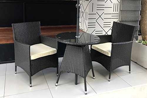 - Do4U 3 Pieces Patio Outdoor Wicker Furniture Outdoor Set Bistro Set Backyard Rattan Cushion Seat Set Chairs Coffee Table(Expresso-3pcs)