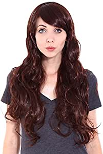 Simplicity Women Costume Party Long Curly Wavy Full Hair Cosplay Wigs Dark Brown