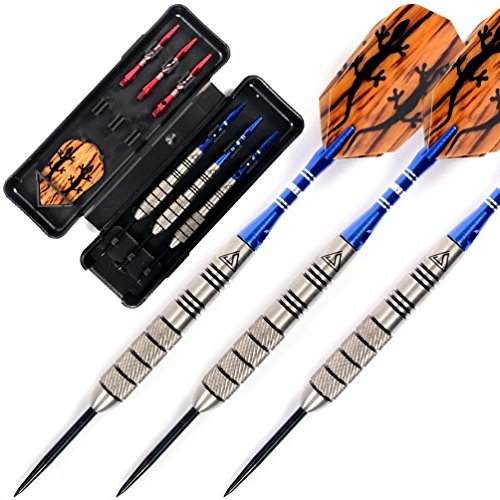 CUESOUL 30 Grams Tungsten Steel Tip Darts Set 95% Tungsten-30 Grams Tungsten Barrel Black Steal Steel Tip Darts
