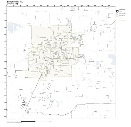 Brooksville Florida Map.Amazon Com Zip Code Wall Map Of Brooksville Fl Zip Code Map Not