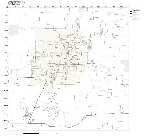 Amazon Com Zip Code Wall Map Of Brooksville Fl Zip Code Map