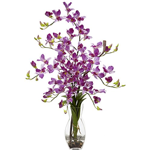 GREATHOPES Dendrobium w/Vase Silk Flower Arrangement Purple Home Decoration Flowers ()