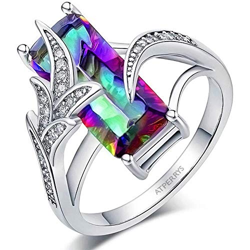 AtPerry's Created Rainbow Topaz Ring Rectangular Shape - Cubic Zirconia Setting - November Crystal Women's Ring