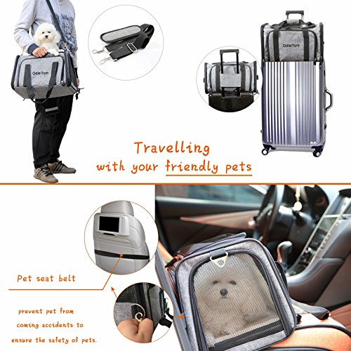 Pet Carrier for Dogs & Cats - Airline Approved Expandable waterproof Soft Animal Carriers -Portable Soft-Sided Air Travel Bag- Eco-friendly material Roomy With a Side Pocket and a Fleece Bed by Odie Tom (Image #2)