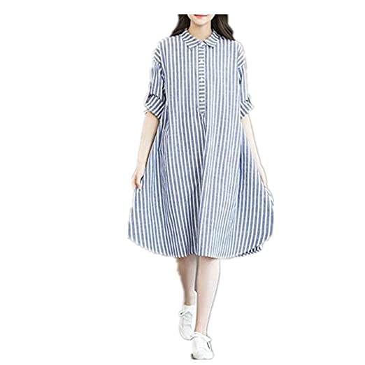 f07fa306ae0 Striped Dress for Maternity Pregnant 3 4 Roll Sleeve Shirt V Neck Button  Down Blouse