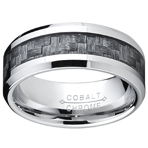 high polish cobalt mens wedding band engagement ring w gray carbon fiber inlay comfort fit 8mm amazoncom - Cobalt Wedding Rings