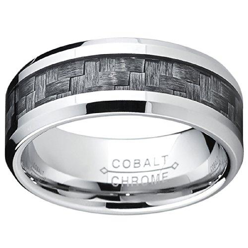 high polish cobalt mens wedding band engagement ring w gray carbon fiber inlay comfort fit 8mm amazoncom - Cobalt Wedding Rings