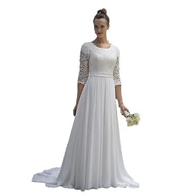 Automan Modest Lace Beach Wedding Dresses 34 Sleeves Mature Bride