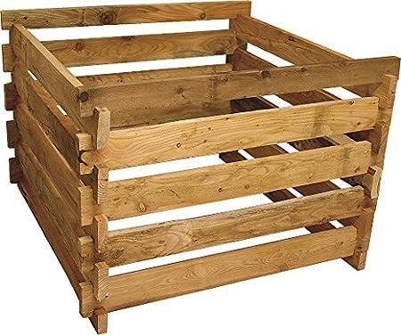 Gartenwelt Riegelsberger Holzkomposter L/ärche 120x120xH60 cm mit Holz-Stecksystem Komposter Komposte Steckkomposter Kompostsilo