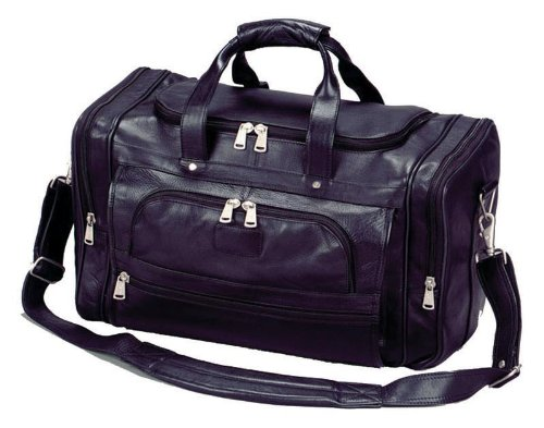 Winn Harness Leather Duffel Bag w/Large Ergonomic Shoulder Strap, Black (Winn Harness Leather)