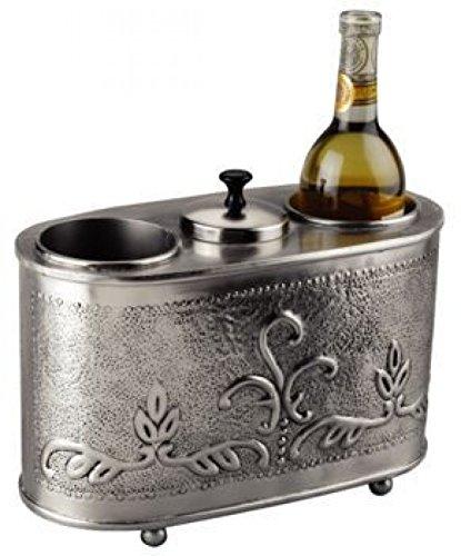 Old Dutch 12.5 x 6 x 9.25 Antique Embossed Pewter 2 Bottle Wine Chiller
