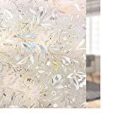 Rabbitgoo Premium No Glue 3D Static Decorative Frosted Privacy Window Films for Glass, 35.4in. By 78.7in. (90 x 200CM)