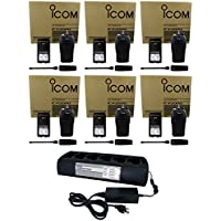 QTY 6 Icom F2000 01 UHF 4 Watt 16 Channel 400-470 MHz Two Way Radio with QTY 1 Power Products TWC6M 6 Unit Gang Charger