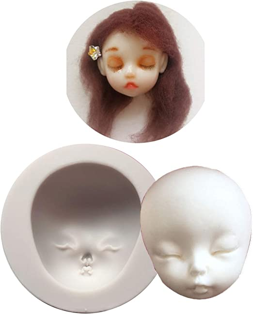 Fondant Doll Making Crafting Projects Polymer Clay Epoxy Resin 13 pcs 3D Human Face Silicone Mold for Sugarcraft Soap Making