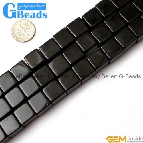 Cube Onyx Black (Square Cube Black Agate Onyx Gemstone Loose Beads For Jewelery Making Strand 15
