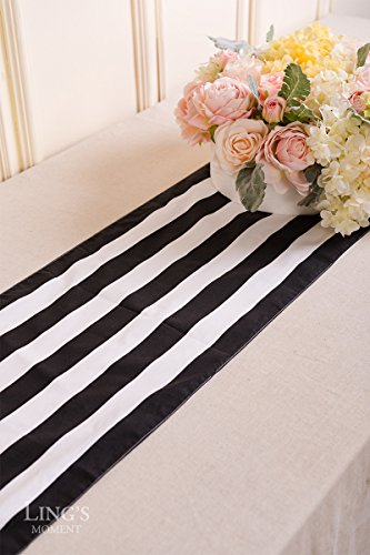 Ling's moment Classic 1 Inch Black and White Striped Table Runner, 12 x 72 Inches, 100% Cotton Machine Washable Colorfast by Ling's moment (Image #4)