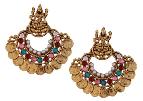 [Store Indya Opulently Hand-sculpted Chandelier Temple Copper Plated Hoop Dangle Earrings Indian Traditional] (Indian Costume Ideas For Women)