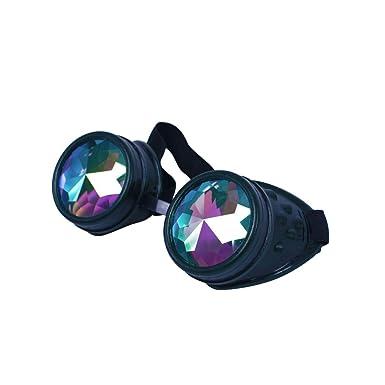 c5f9ebdb3d4a ASVP Shop® Kaleidoscope Rave Goggles - Rainbow Crystal Lenses Silver Steampunk  Glasses Chrome Finish Gotchic Welder Cyber Style - Real Glass Lens  ...