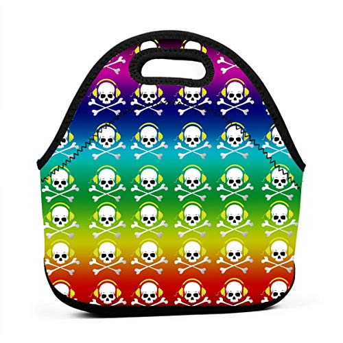 Professional Design Lunch Bag Student Party/family Dinner/Baby Feeding Bottle Multifunctional Fashion Cool Rainbow DJ Skull And Crossbones