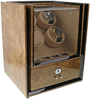 Quad Watch Winder with Storage in Light Burl Wood - Magnum Collection by Aevitas