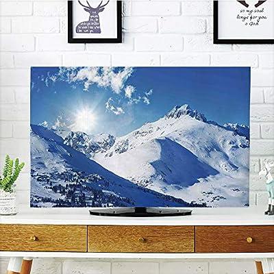Cubierta de polvo para televisor LCD, decoraciones de invierno, pintura de visión compatible con caminos de nieve entre árboles y sol en el cielo, azul amarillo, diseño de impresión 3D compatible con