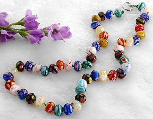 Ecloud Shop 10x7mm Fashion Millefiori Murano Lampwork Necklace unique Abacus shaped Glass Bead (Millefiori Shaped Glass)