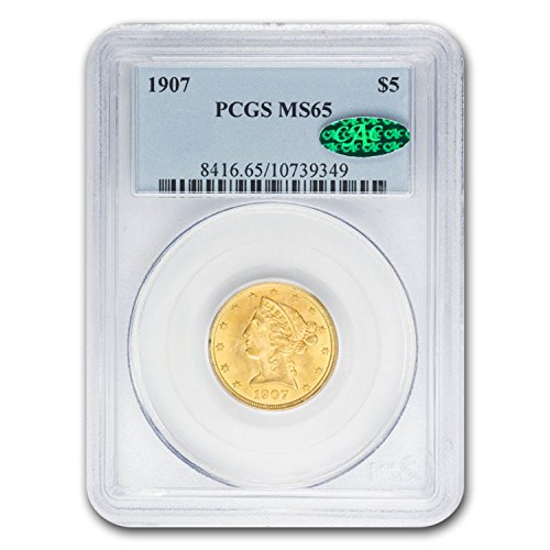 1907 $5 Liberty Gold Half Eagle MS-65 PCGS CAC G$5 MS-65 PCGS