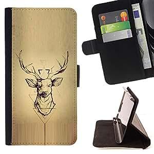 - Queen Pattern FOR Samsung ALPHA G850 /La identificaci????n del cr????dito ranuras para tarjetas tir????n de la caja Cartera de cuero cubie - deer parchment wood deer antlers -