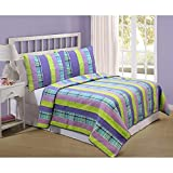 3 Piece Kids Multi Color Plaid Full Queen Size Patchwork Quilt, Purple Yellow Pink Horizontal Stripes, Lumberjack Rugby Striped, Blue Teal Beach House Cabbin Country Cottage Patch Work, Cotton