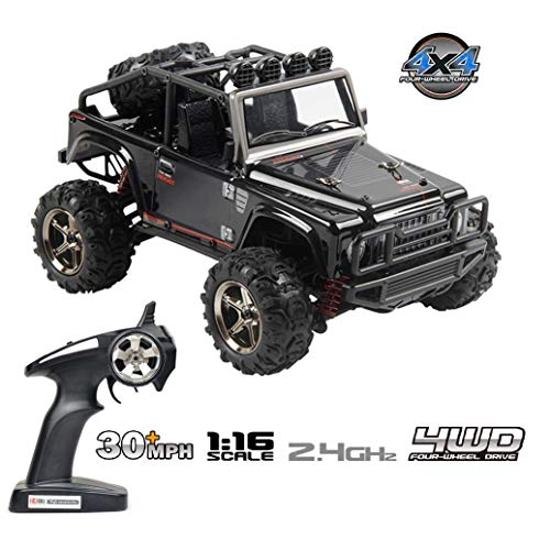 Tecesy RC Truck 1/16 Scale Electric Jeep 4WD 2.4Ghz Off-Road Drift RC Desert Buggy with Lights 36H BG1511A (Black)