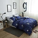LELVA Boys Bedding 4 Piece Football Duvet Cover Set Blue Sports Bedding Teen Cotton Reversible Design (Full/ Queen, Flat Sheet Set)