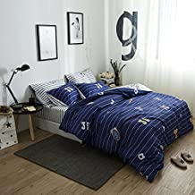 LELVA Boys Bedding 4 Piece Football Duvet Cover Set Blue Sports Bedding Teen Cotton Reversible Design (Full/ Queen, Flat Sheet Set)