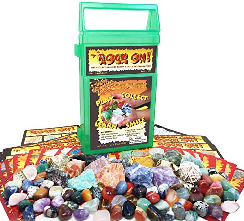 ROCK ON! Geology Game with Rock & Mineral Collection  Collect and Learn with STEM-based Educational Science Kit in Carrying Case - Amethyst, Rhodonite, Selenite Crystal, Sodalite and lots more