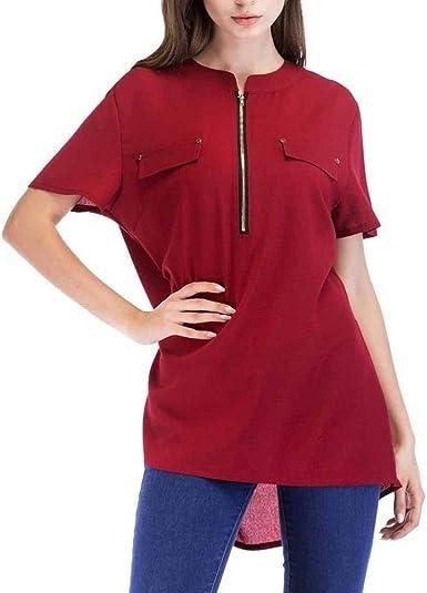 Mujer Camisetas Verano Único Único Manga Pin-Up Tops Corta Colores Sólidos con Cremallera Asimetricos Hipster Estilo Moderno Shirt Camisas: Amazon.es: Ropa y accesorios