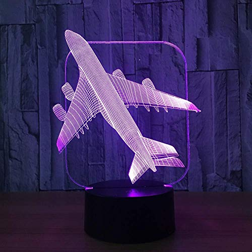 OVIIVO Creative Table Lamp Desk Lamp 3D Aircraft Warplane Model Creative Night Light Touch Jet Plane Desk Lamp Led Illusion Lamp Bedside Lamp Cool Toy Using for Reading, Working by OVIIVO (Image #1)