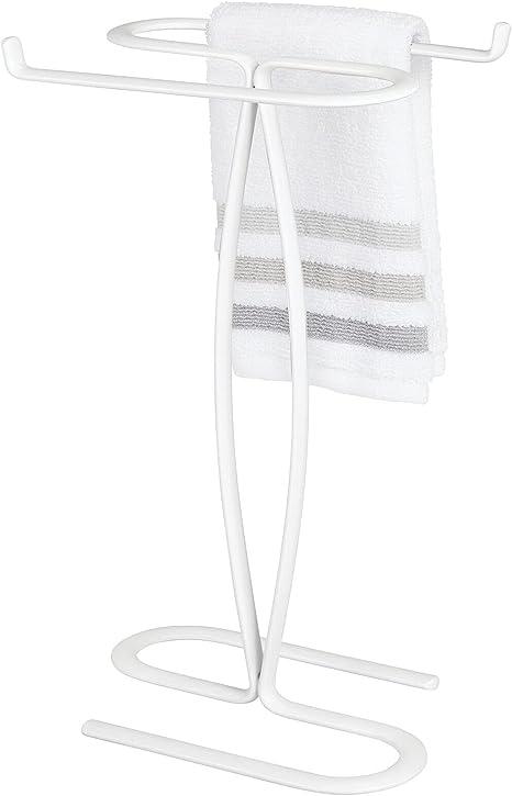 2 Hand Guest Towel Holder For Bathroom Rack Stand Countertop Vanity Metal Chrome